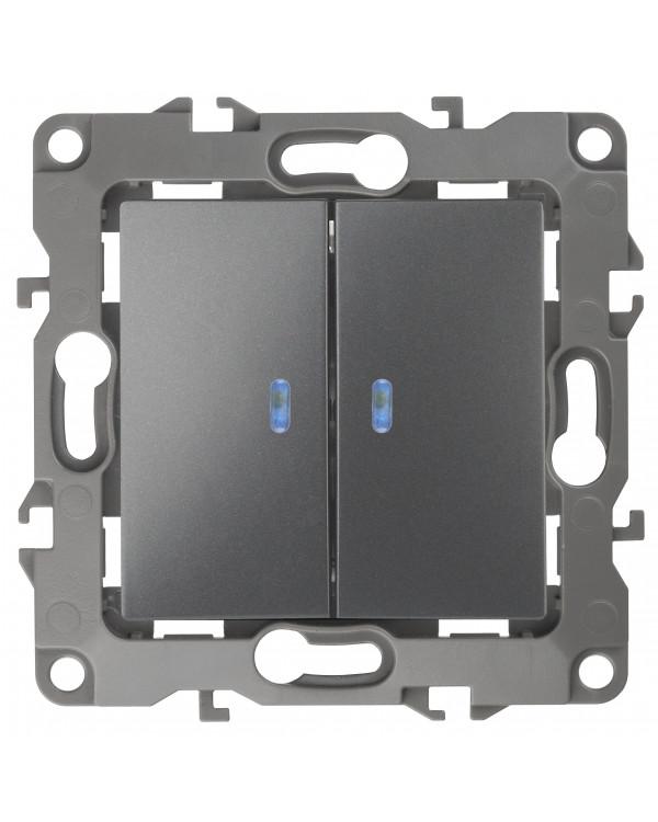 12-1105-12 ЭРА Выключатель двойной с подсветкой, 10АХ-250В, IP20, Эра12, графит (10/100/2500), 12-1105-12