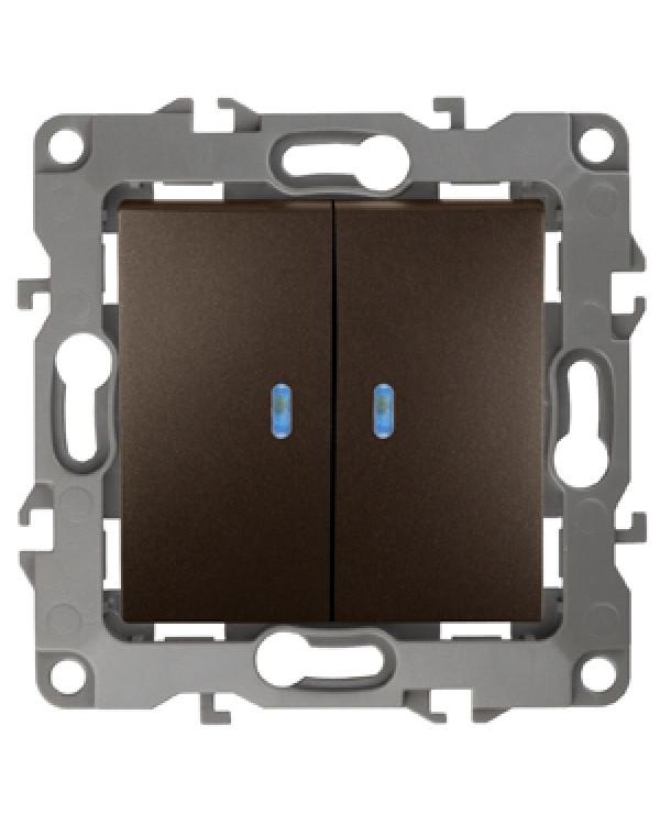 12-1105-13 ЭРА Выключатель двойной с подсветкой, 10АХ-250В, IP20, Эра12, бронза (10/100/3200), 12-1105-13