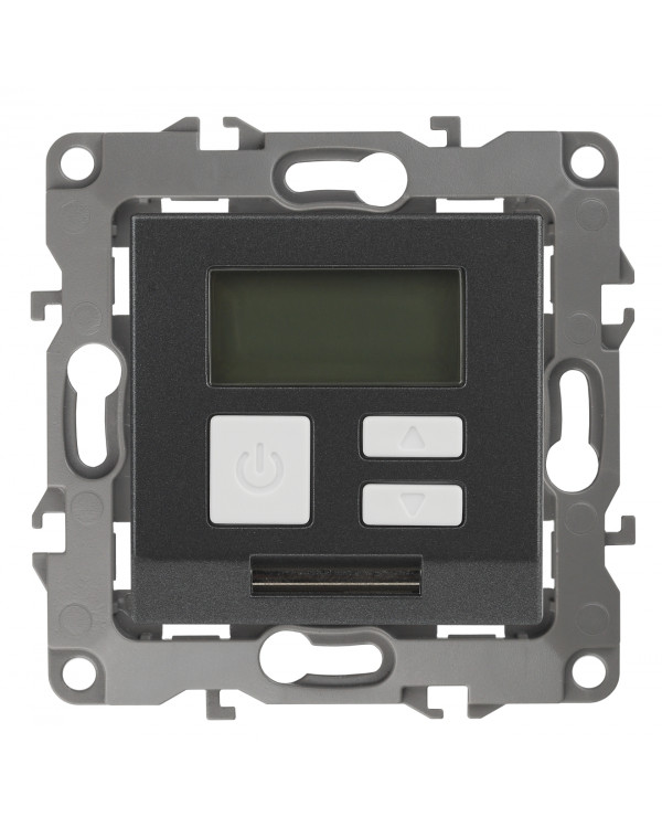 12-4111-12 ЭРА Терморегулятор универс. 230В-Imax16А, IP20, Эра12, графит (6/60/1200)