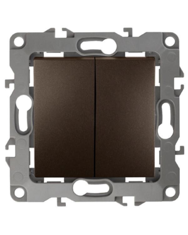 12-1104-13 ЭРА Выключатель двойной, 10АХ-250В, IP20, Эра12, бронза (10/100/3200)