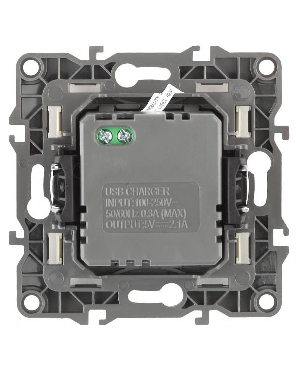 12-4110-12 ЭРА Устройство зарядное USB, 230В/5В-2100мА, IP20, Эра12, графит (6/60/1920)