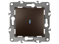 12-1102-13 ЭРА Выключатель с подсветкой, 10АХ-250В, IP20, Эра12, бронза (10/100/3200)