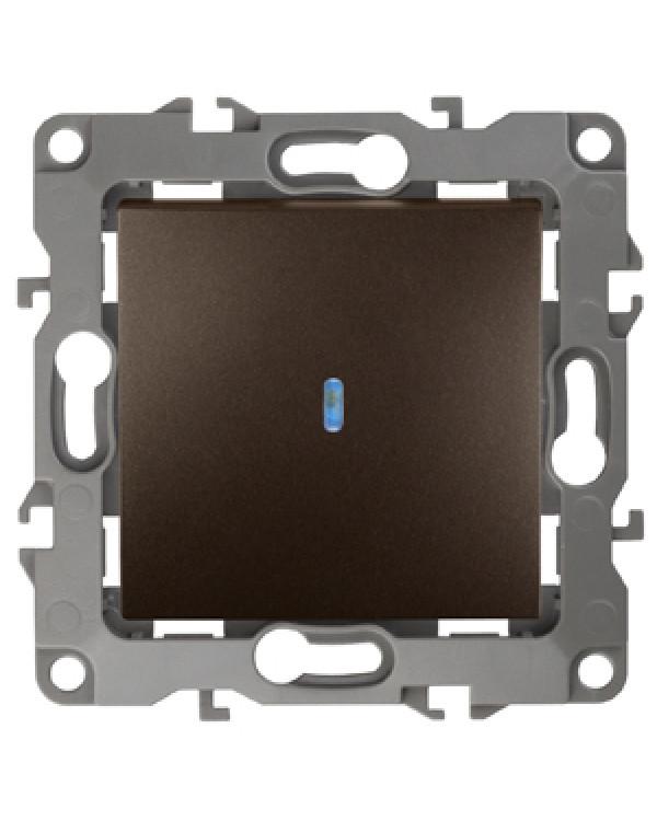 12-1102-13 ЭРА Выключатель с подсветкой, 10АХ-250В, IP20, Эра12, бронза (10/100/3200), 12-1102-13