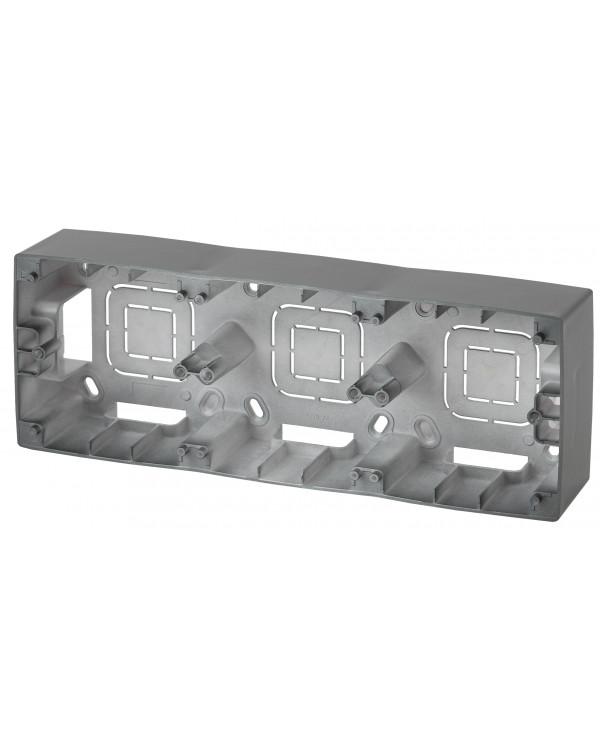 12-6103-12 ЭРА Коробка наклад. монтажа 3 поста, Эра12, графит (5/50/600), 12-6103-12