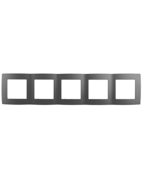12-5005-12 ЭРА Рамка на 5 постов, Эра12, графит (10/100/1600)