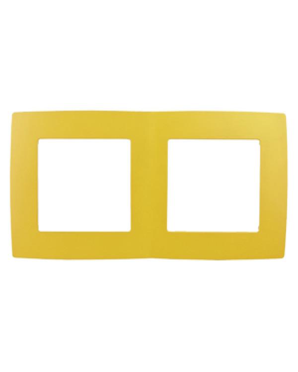 12-5002-21 ЭРА Рамка на 2 поста, Эра12, жёлтый (10/100/3600), 12-5002-21