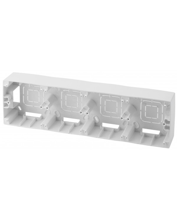 12-6104-01 ЭРА Коробка наклад. монтажа 4 поста, Эра12, белый (5/50/400), 12-6104-01