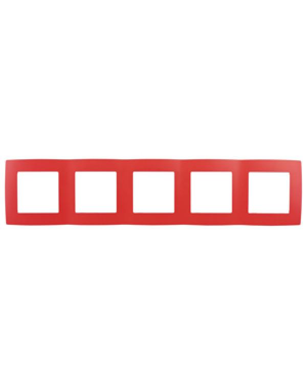 12-5005-23 ЭРА Рамка на 5 постов, Эра12, красный (10/100/1600)