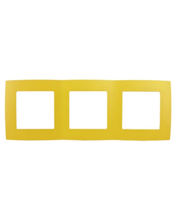 12-5003-21 ЭРА Рамка на 3 поста, Эра12, жёлтый (15/150/2400), 12-5003-21