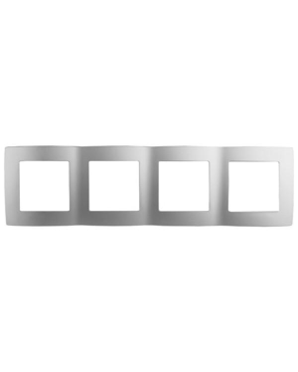12-5004-03 ЭРА Рамка на 4 поста, Эра12, алюминий (10/100/1600), 12-5004-03