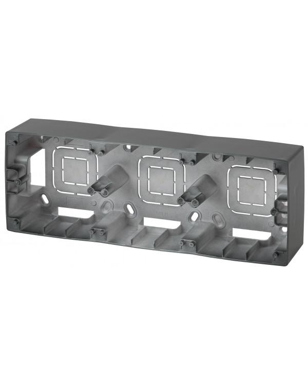 12-6103-05 ЭРА Коробка наклад. монтажа 3 поста, Эра12, антрацит (5/50/600)