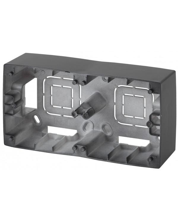 12-6102-05 ЭРА Коробка наклад. монтажа 2 поста, Эра12, антрацит (10/100/800)
