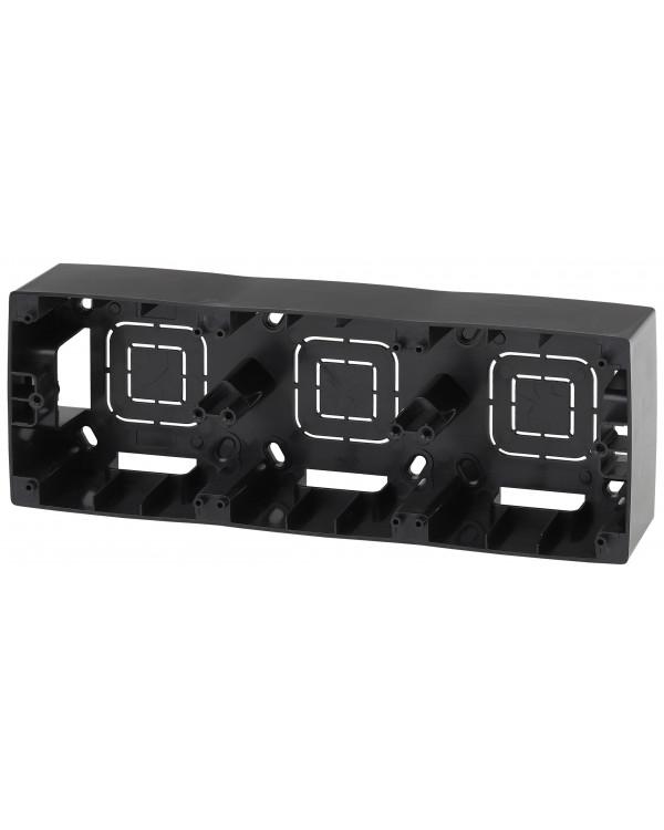 12-6103-06 ЭРА Коробка наклад. монтажа 3 поста, Эра12, чёрный (5/50/700)