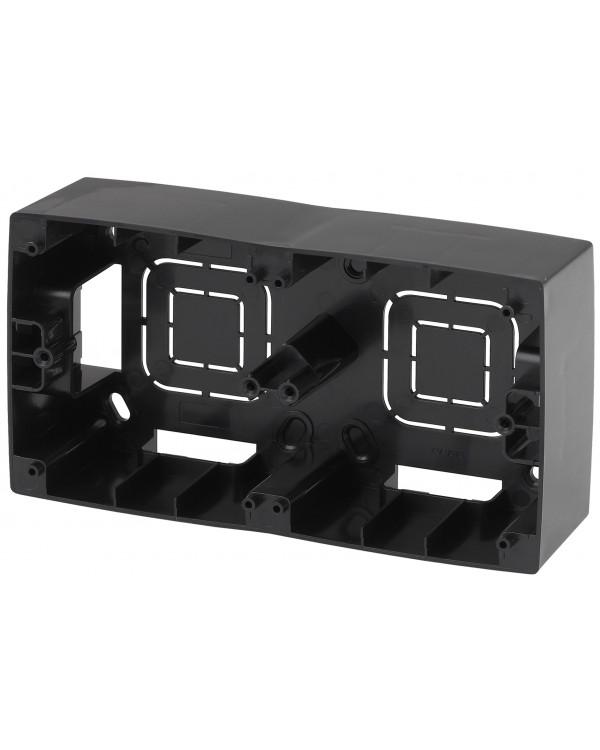 12-6102-06 ЭРА Коробка наклад. монтажа 2 поста, Эра12, чёрный (10/100/800)