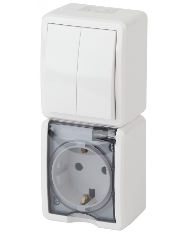 11-7408-01 ЭРА Блок розетка+выкл. двойн. верт. IP54, 16A(10AX)-250В, ОУ, Эра Эксперт, белый (5/50/80, 11-7408-01