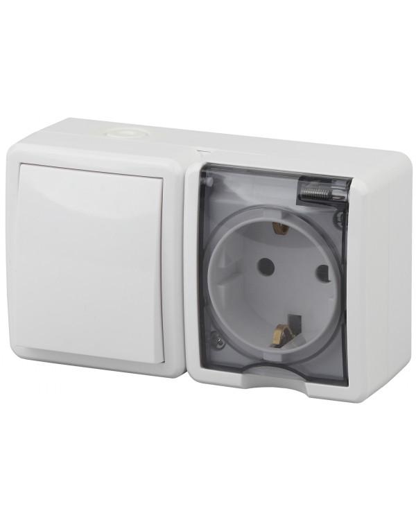 11-7401-01 ЭРА Блок розетка+выключатель IP54, 16A(10AX)-250В, ОУ, Эра Эксперт, белый (8/80/1280), 11-7401-01