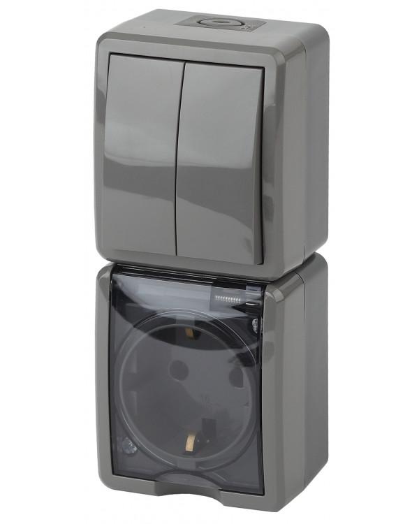11-7408-03 ЭРА Блок розетка+выкл. двойн. верт. IP54, 16A(10AX)-250В, ОУ, Эра Эксперт, серый (5/50/80, 11-7408-03