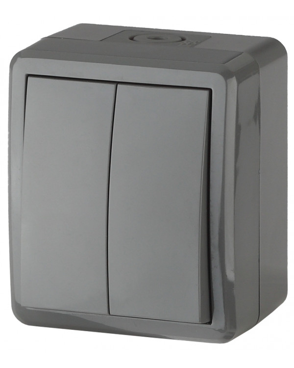 11-1404-03 ЭРА Выключатель двойной IP54, 10АХ-250В, ОУ, Эра Эксперт, серый (16/160/2560)