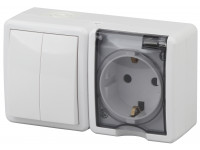 11-7402-01 ЭРА Блок розетка+выключатель двойной IP54, 16A(10AX)-250В, ОУ, Эра Эксперт, белый (8/80/1
