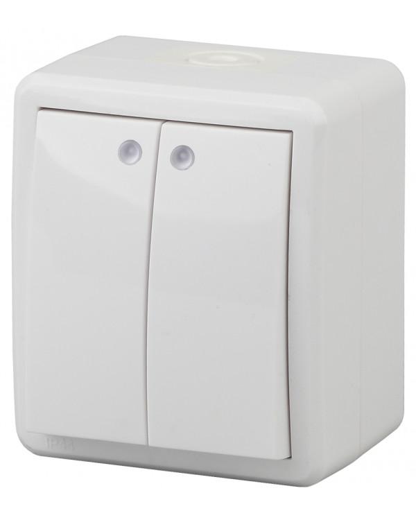 11-1405-01 ЭРА Выключатель двойной с подсветкой IP54, 10АХ-250В, ОУ, Эра Эксперт, белый (16/160/2560), 11-1405-01