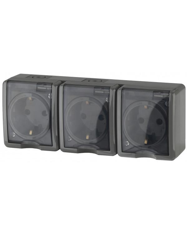 11-2406-03 ЭРА Розетка 3х2P+E IP54, шторки, 16A-250В, ОУ, серый (5/50/800), 11-2406-03