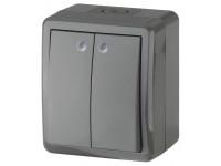 11-1405-03 ЭРА Выключатель двойной с подсветкой IP54, 10АХ-250В, ОУ, Эра Эксперт, серый (16/160/1920)