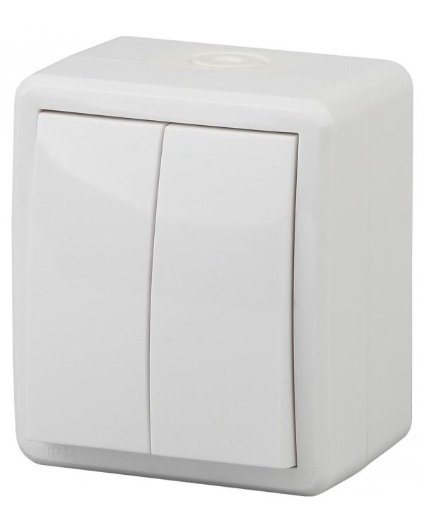 11А-1404-01 ЭРА Выключатель двойной IP54, 10АХ-250В, ОУ, Эра Эксперт, Al+Cu,белый (16/160/2880), 11А-1404-01