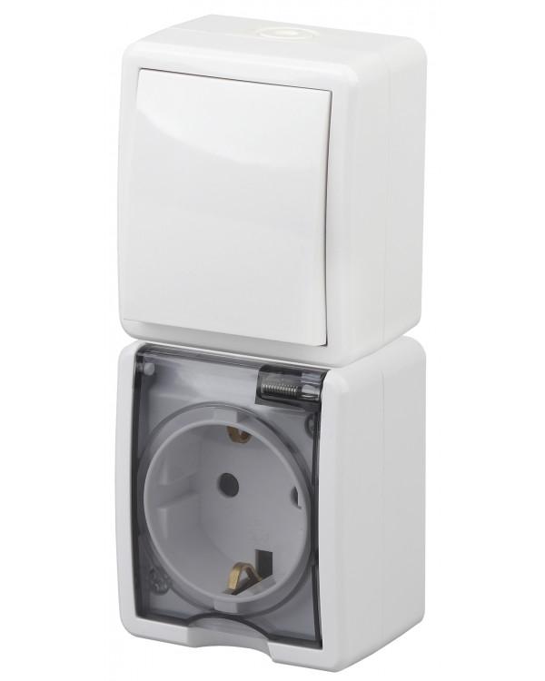 11-7407-01 ЭРА Блок розетка+выкл. верт. IP54, 16A(10AX)-250В, ОУ, Эра Эксперт, белый (5/50/800)