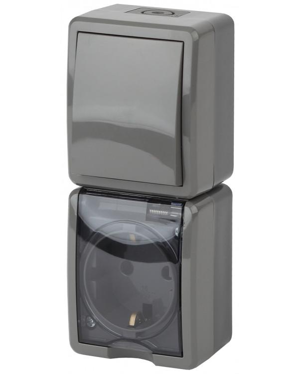 11-7407-03 ЭРА Блок розетка+выкл. верт. IP54, 16A(10AX)-250В, ОУ, Эра Эксперт, серый (5/50/800), 11-7407-03