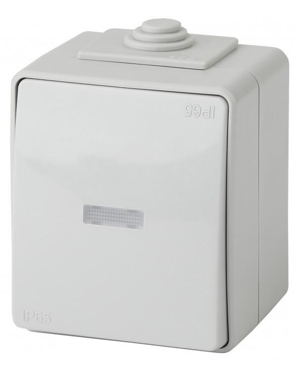 11-1610-03 ЭРА Переключатель с подсветкой IP65, 10АХ-250В, ОУ, Эра Эксперт, серый (10/100/1600)