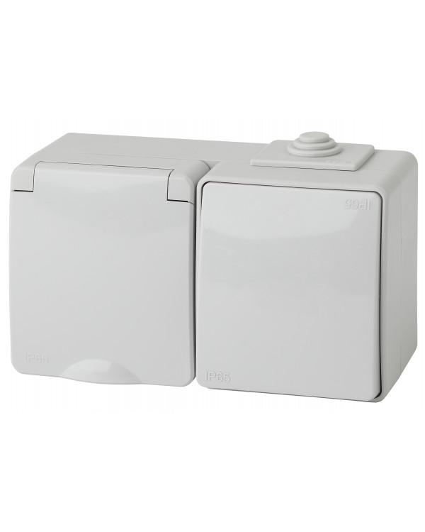 11-7601-03 ЭРА Блок розетка+выкл. гориз. IP65, 16A(10AX)-250В, ОУ, Эра Эксперт, серый (5/50/1000)