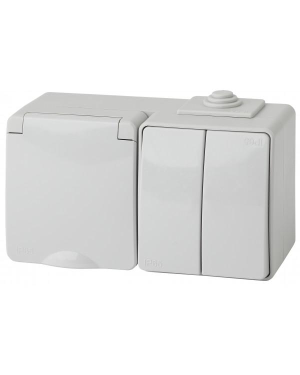 11-7602-03 ЭРА Блок розетка+выкл. двойн. гориз. IP65, 16A(10AX)-250В, ОУ, Эра Эксперт, серый (5/50/8