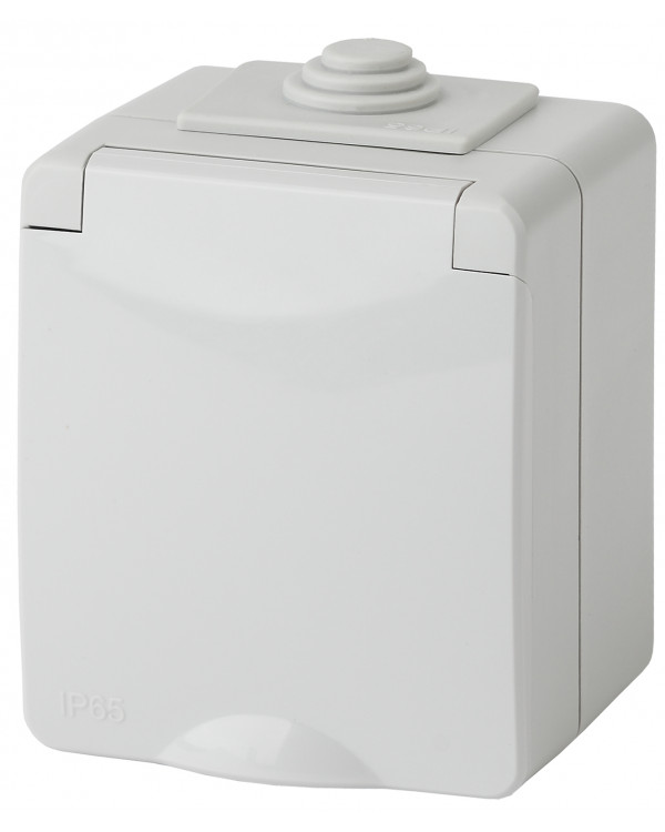 11-2601-03 ЭРА Розетка 2P+E IP65, 16A-250В, ОУ, серый (10/100/1600)
