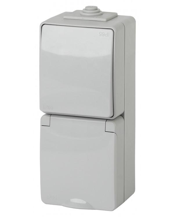 11-7607-03 ЭРА Блок розетка+выкл. верт. IP65, 16A(10AX)-250В, ОУ, Эра Эксперт, серый (5/50/800)