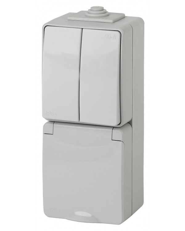 11-7608-03 ЭРА Блок розетка+выкл. двойн. верт. IP65, 16A(10AX)-250В, ОУ, Эра Эксперт, серый (5/50/80