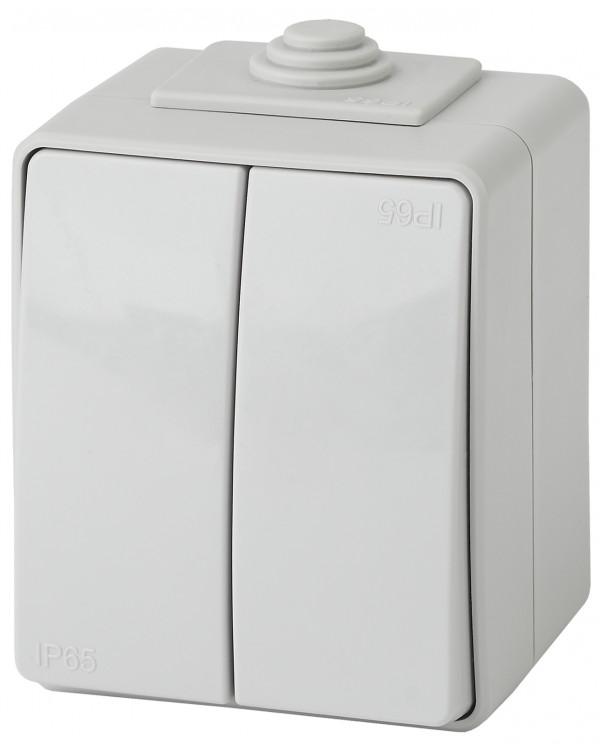 11-1604-03 ЭРА Выключатель двойной IP65, 10АХ-250В, ОУ, Эра Эксперт, серый (10/100/1600)
