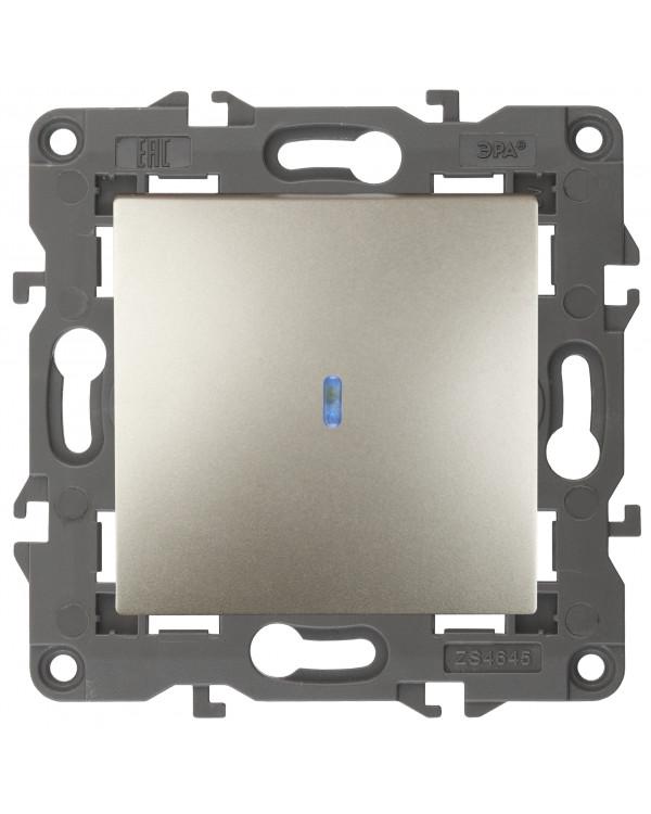 14-1102-04 ЭРА Выключатель с подсветкой, 10АХ-250В, IP20, Эра Elegance, шампань (10/100/1600)