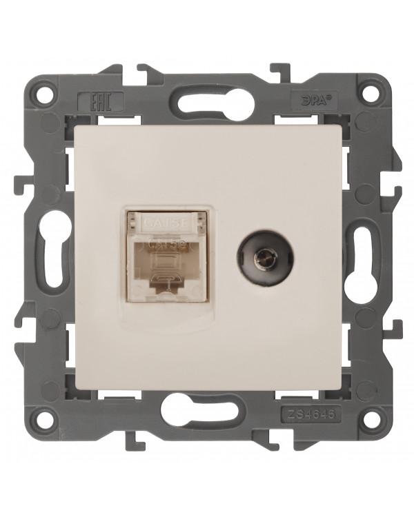 14-3110-02 ЭРА Розетка RJ45+TV, IP20, сл.кость (10/100/1600), 14-3110-02