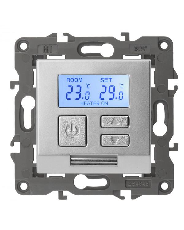 14-4111-03 ЭРА Терморегулятор универс. 230В-Imax16А, IP20, Эра Elegance, алюминий (6/60/1080)