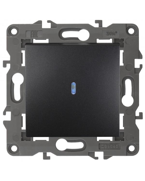 14-1102-05 ЭРА Выключатель с подсветкой, 10АХ-250В, IP20, Эра Elegance, антрацит (10/100/3000), 14-1102-05