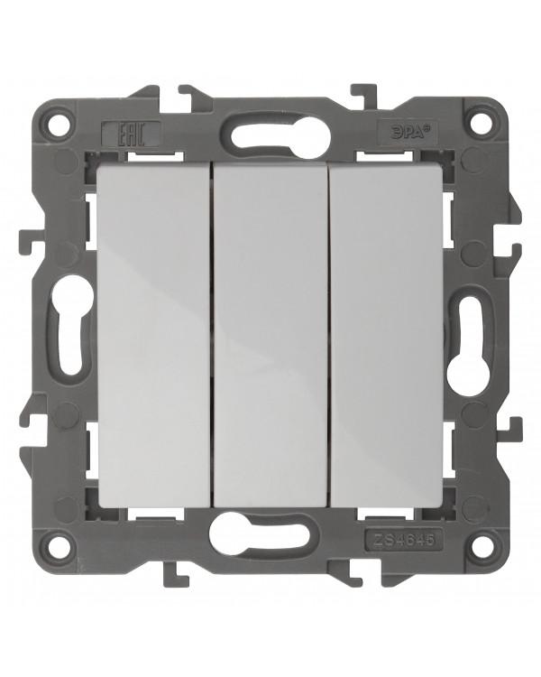 14-1107-01 ЭРА Выключатель тройной, 10АХ-250В, IP20, Эра Elegance, белый (10/100/3000)