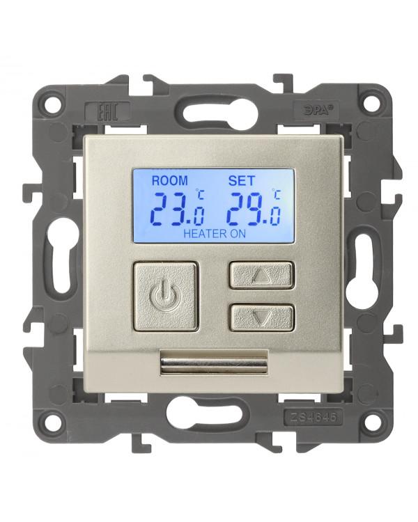 14-4111-04 ЭРА Терморегулятор универс. 230В-Imax16А, IP20, Эра Elegance, шампань (6/60/1080), 14-4111-04