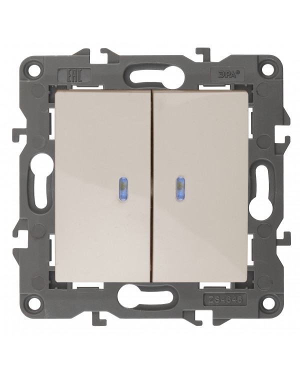 14-1105-02 ЭРА Выключатель двойной с подсветкой, 10АХ-250В, IP20, Эра Elegance, сл.кость (10/100/160, 14-1105-02