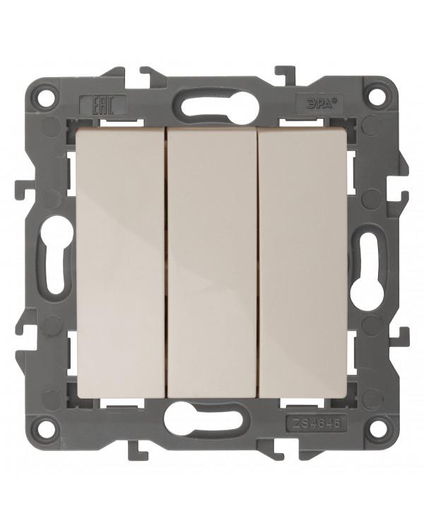 14-1107-02 ЭРА Выключатель тройной, 10АХ-250В, IP20, Эра Elegance, сл.кость (10/100/3000)