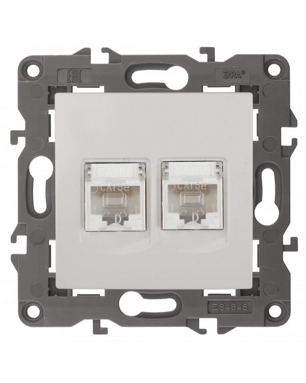 14-3108-01 ЭРА Розетка 2хRJ45, IP20, белый (10/100/1200)