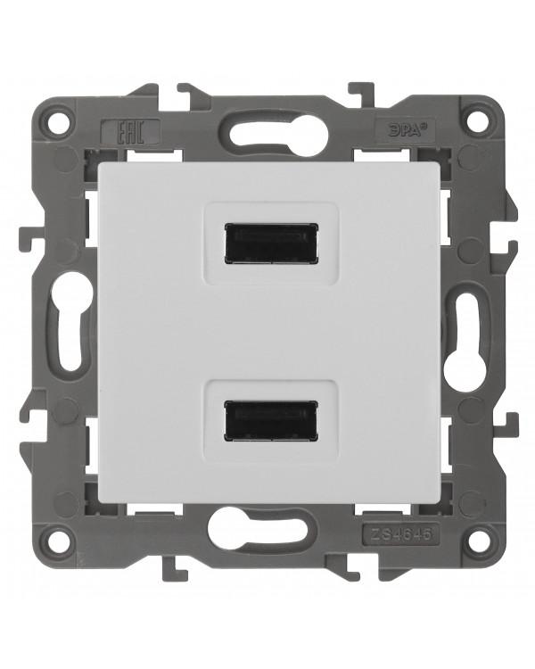 14-4110-01 ЭРА Устройство зарядное USB, 230В/5В-2100мА, IP20, Эра Elegance, белый (6/60/1920)