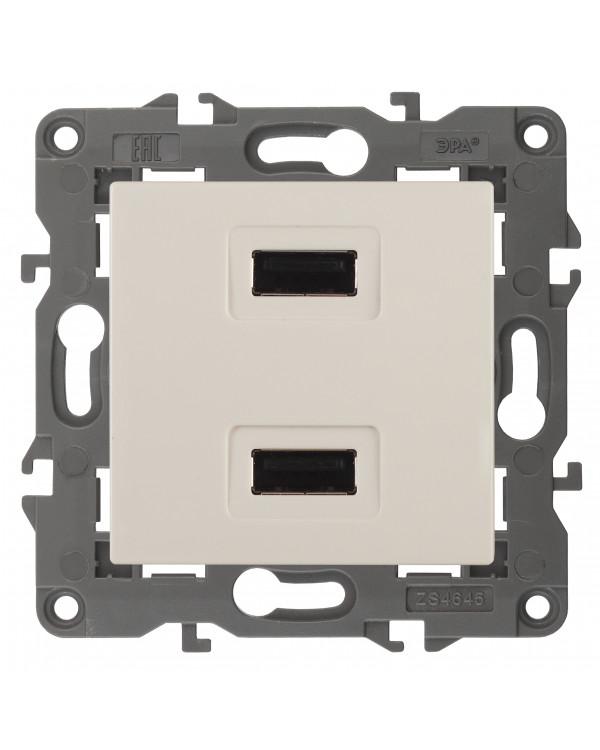 14-4110-02 ЭРА Устройство зарядное USB, 230В/5В-2100мА, IP20, Эра Elegance, сл.кость (6/60/1920)