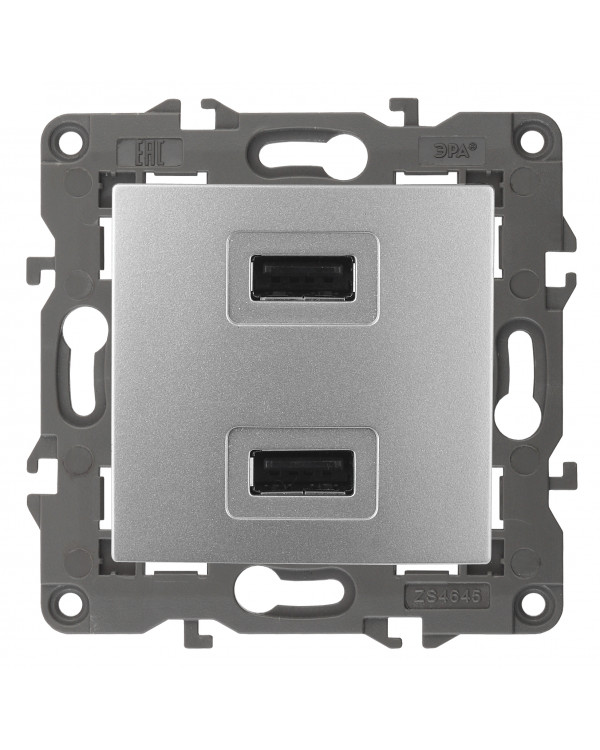 14-4110-03 ЭРА Устройство зарядное USB, 230В/5В-2100мА, IP20, Эра Elegance, алюминий (6/60/1920), 14-4110-03