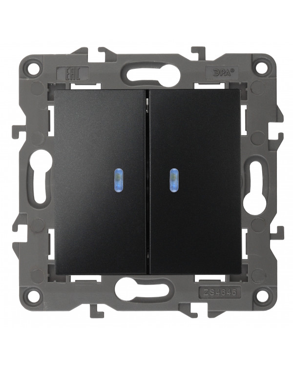 14-1105-05 ЭРА Выключатель двойной с подсветкой, 10АХ-250В, IP20, Эра Elegance, антрацит (10/100/160