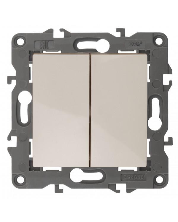 14-1104-02 ЭРА Выключатель двойной, 10АХ-250В, IP20, Эра Elegance, сл.кость (10/100/3200), 14-1104-02